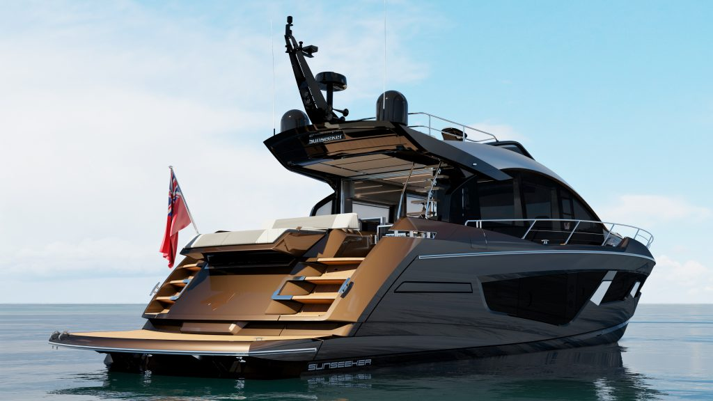 rear angle of the Sunseeker 65 Sports Yacht