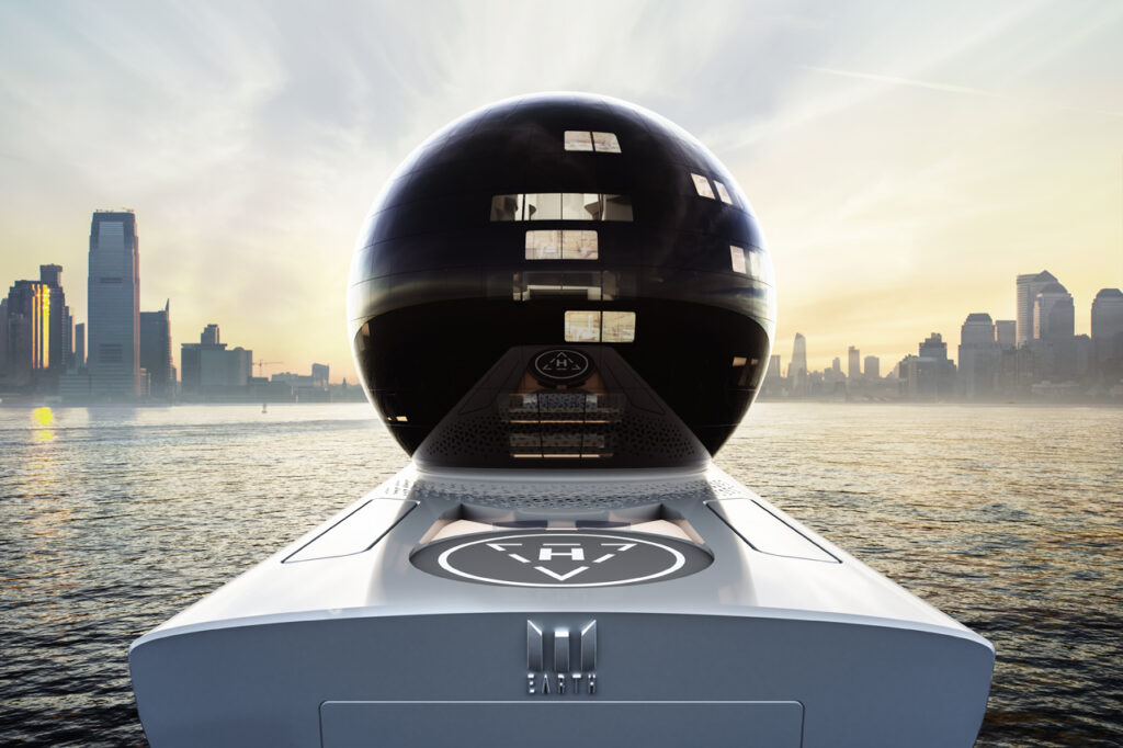 close up on rear of Iddes Yacht earth 300