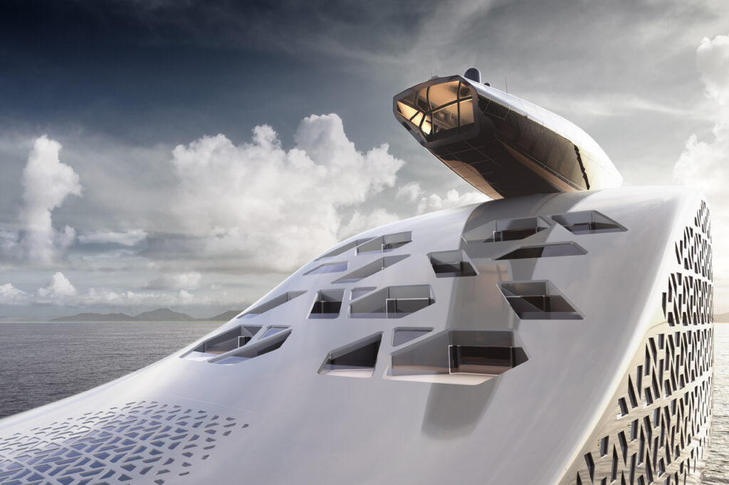 close up shot of lookout and front area of the Iddes Yacht earth 300