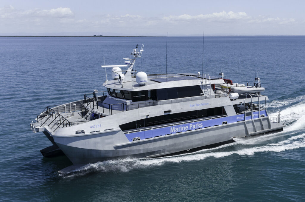 New patrol vessel by Norman R Wright & Sons pictured cruising from the side