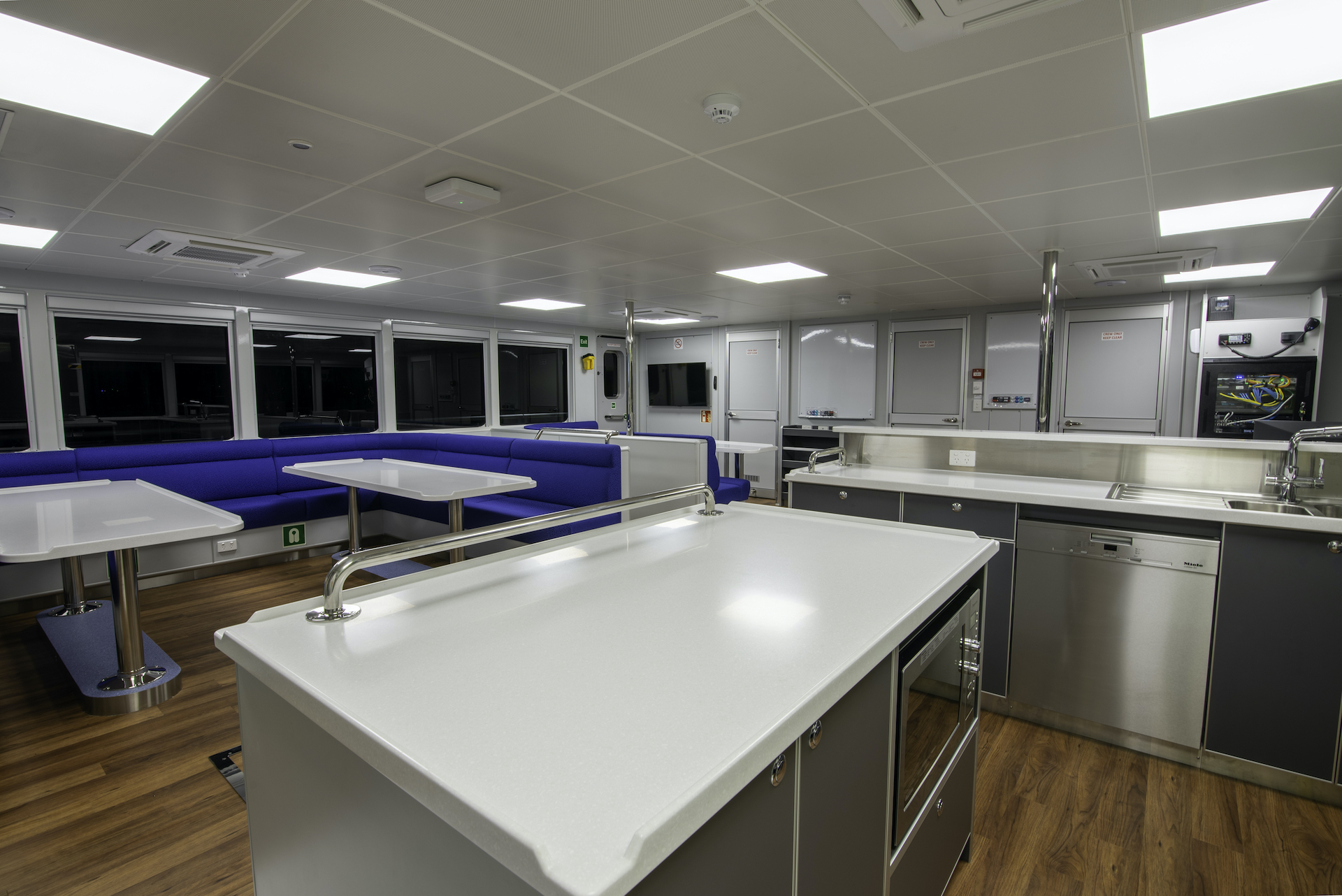 dining room onboard the Reef Resilience
