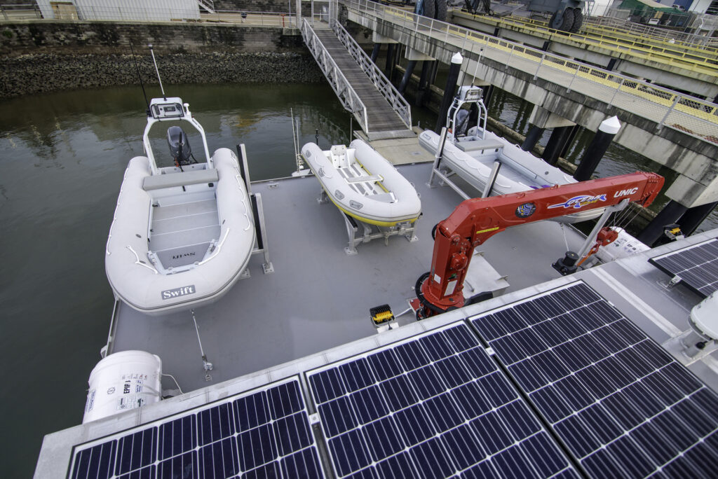 different angle of the tender boats that will be stored onboard the Reef resilience