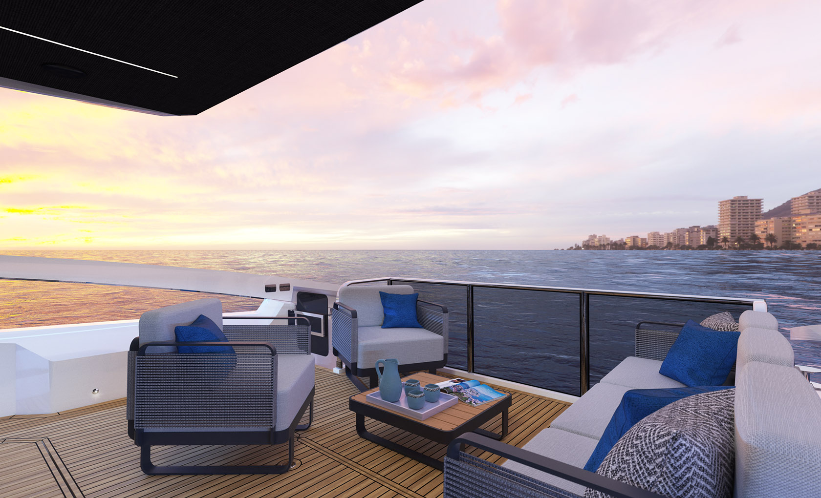 aft deck with sunset