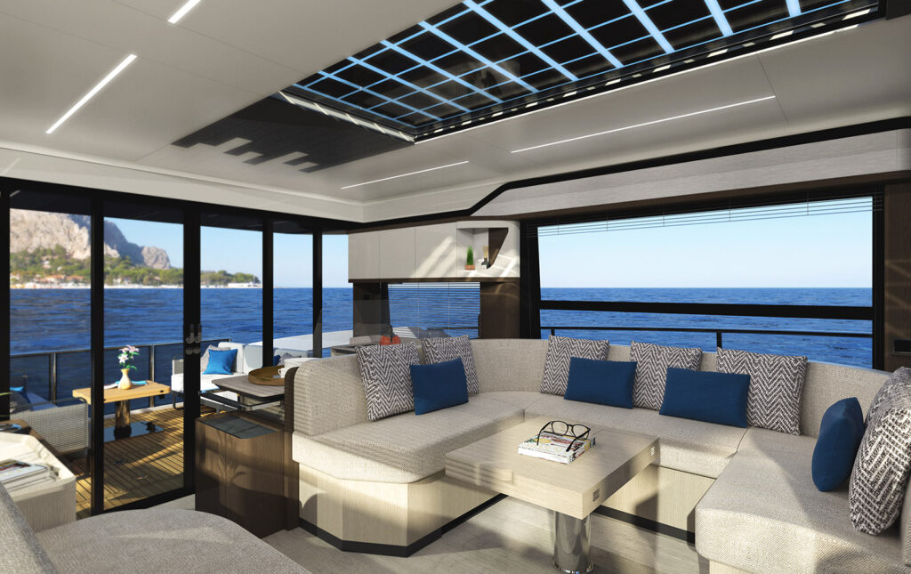 interior living area onboard the absolute 48 coupe