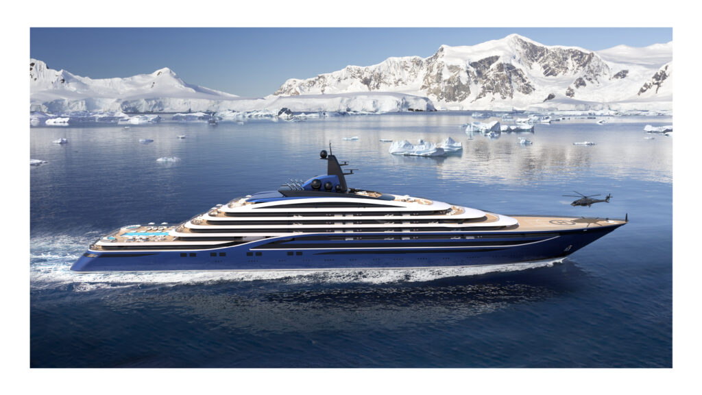 Somnio superyacht side view with glaciers in background