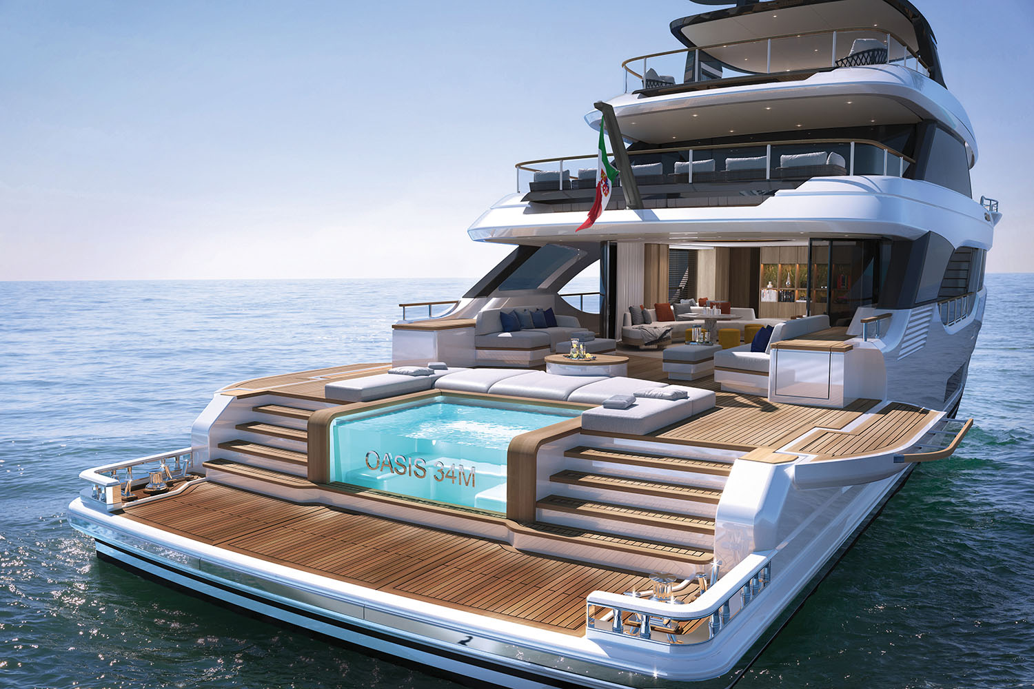 wide angle of the oasis deck at the raear of a Benetti yacht