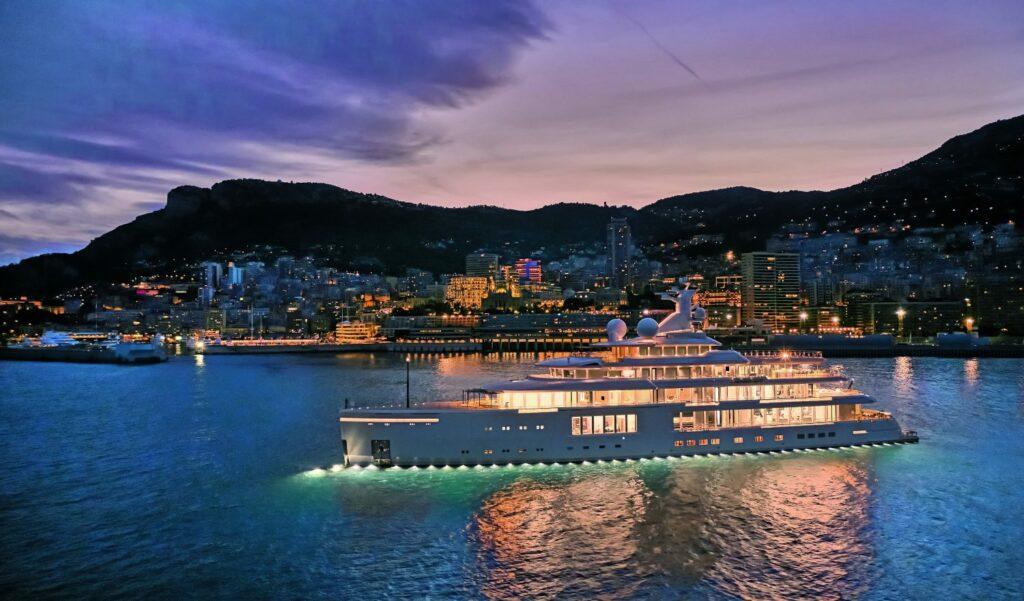 Benetti Luminosity nightime shot in Monaco