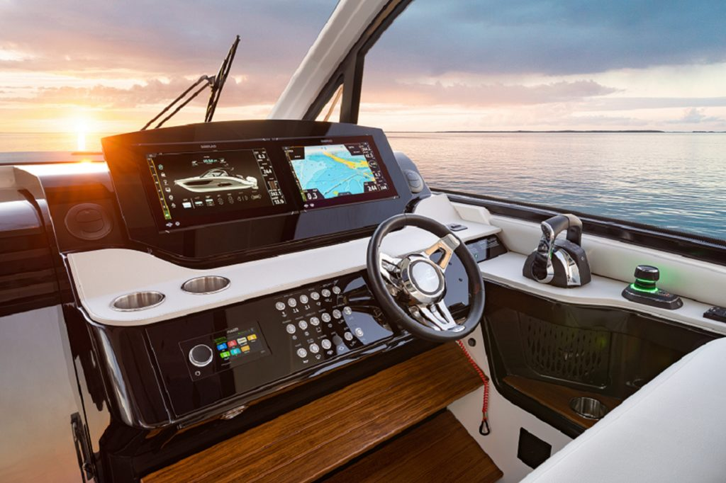 cockpit shot featuring Navico technology