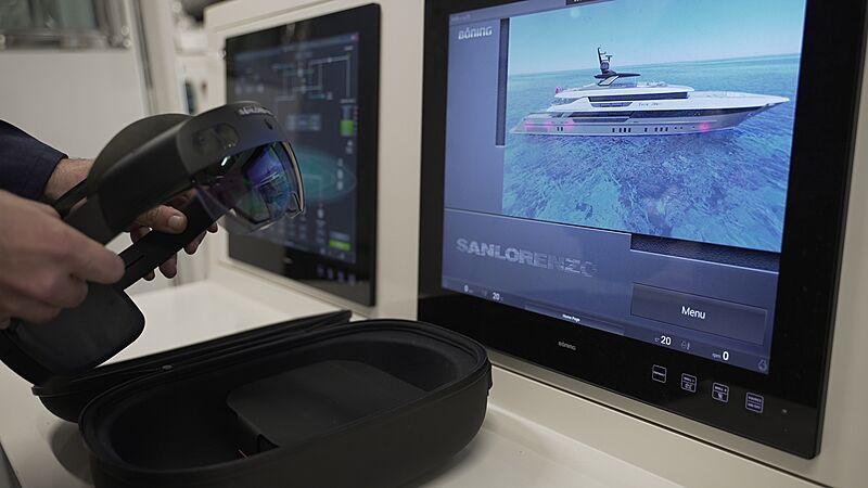 smart helmet and display screen onboard a Sanlorenzo vessel