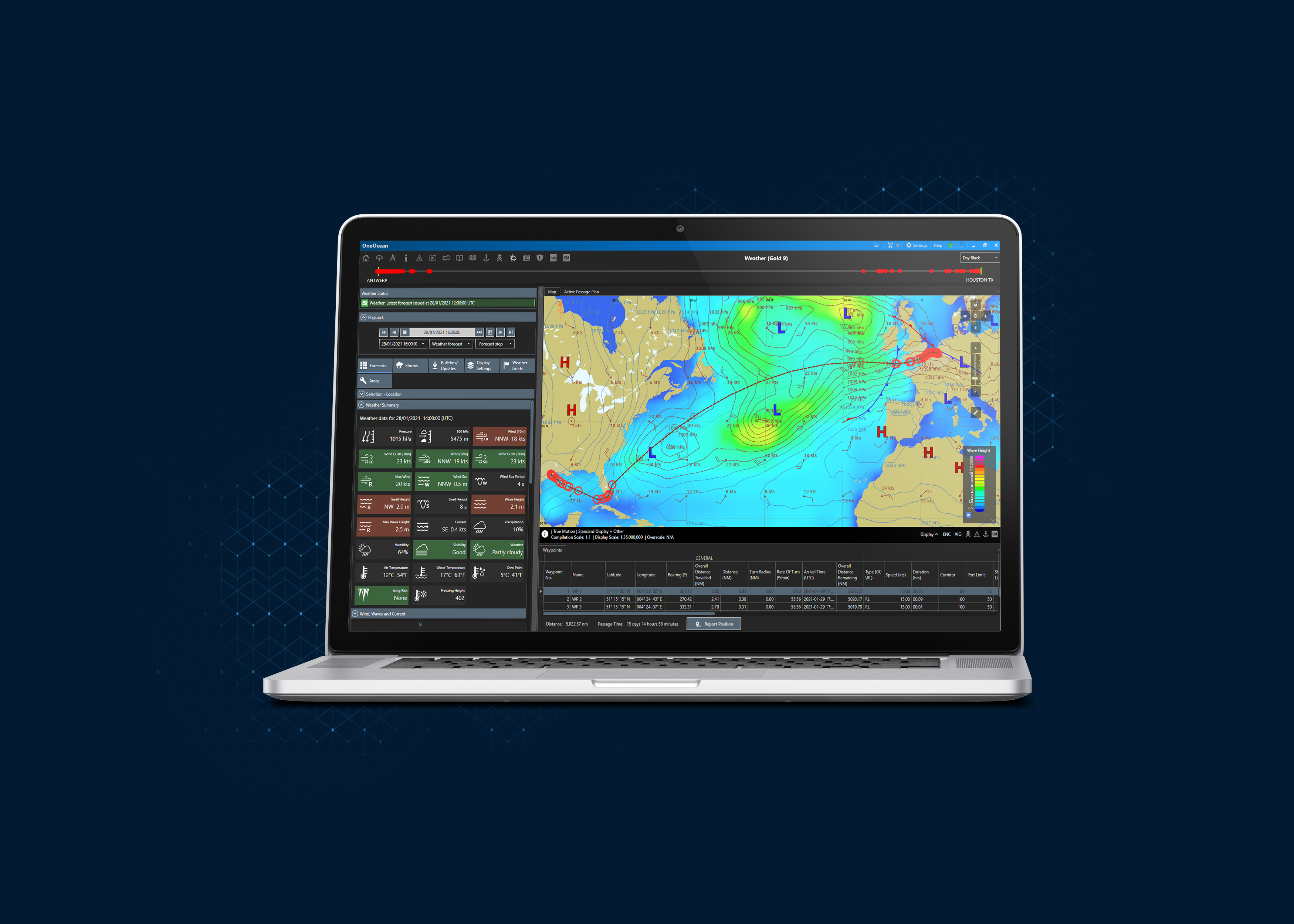 mac product shot of OneOcean voyage planning