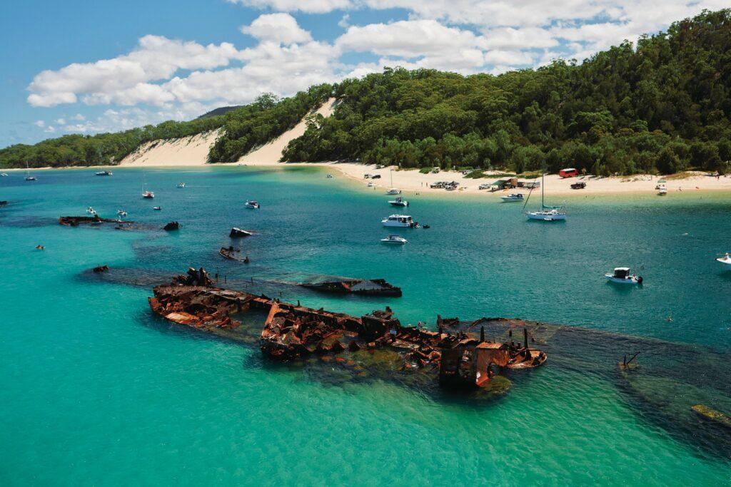 view of shipwreck at Moreton Island