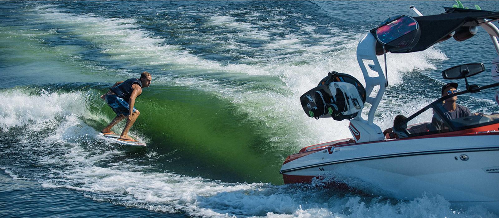 wakeboarding behind tender