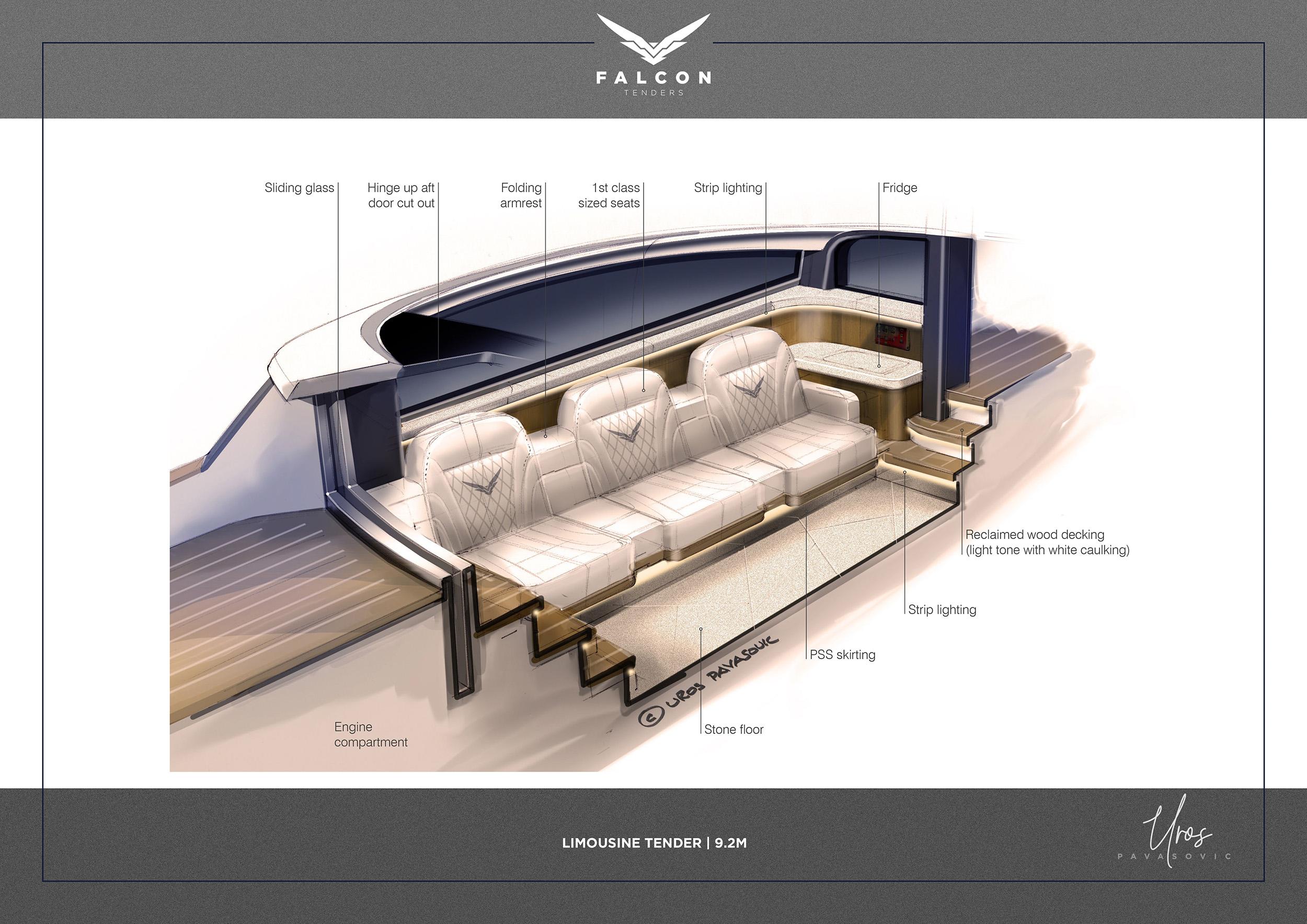 Falcon tenders interior designed by Uros Pavasovic