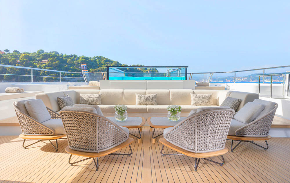outdoor seating area onboard the 52Steel from Sanlorenzo
