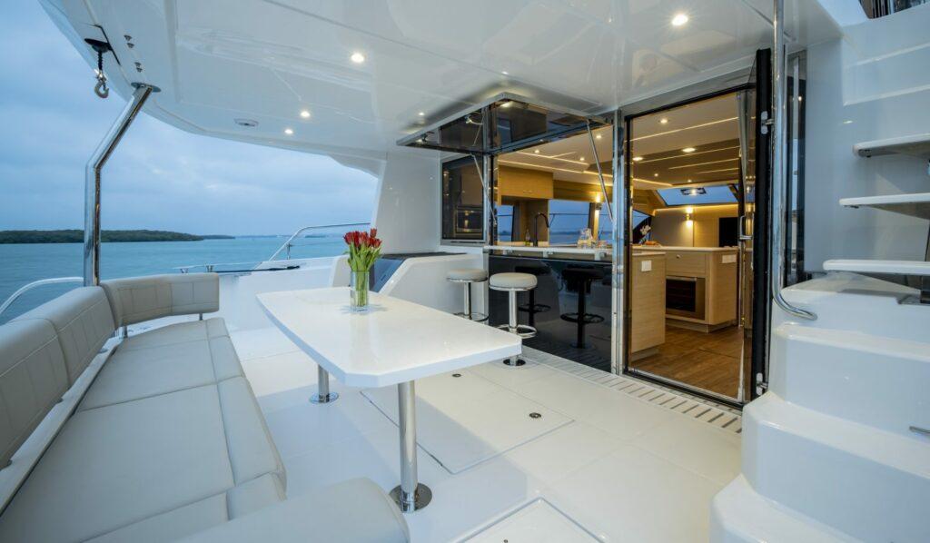 outdoor lving area onboard Aquila 54