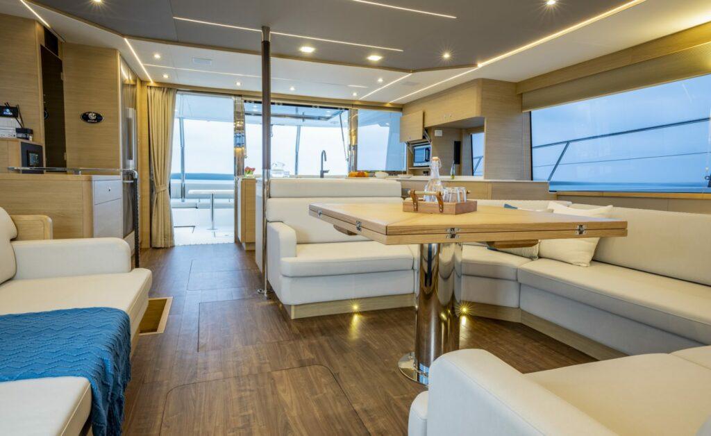 interior shot of living area onboard Aquila 54