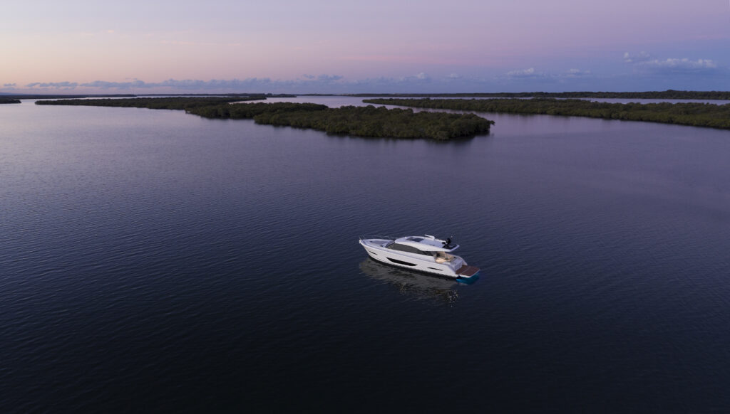 Maritimo S55 wide angle with sunset and islands in background