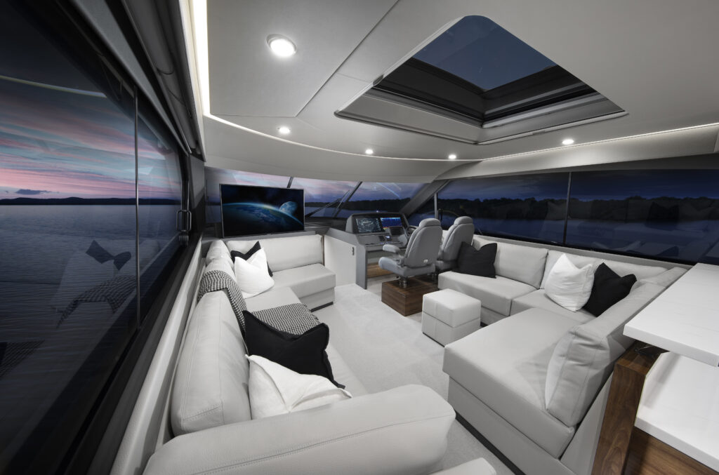 living area onboard the Maritimo S55