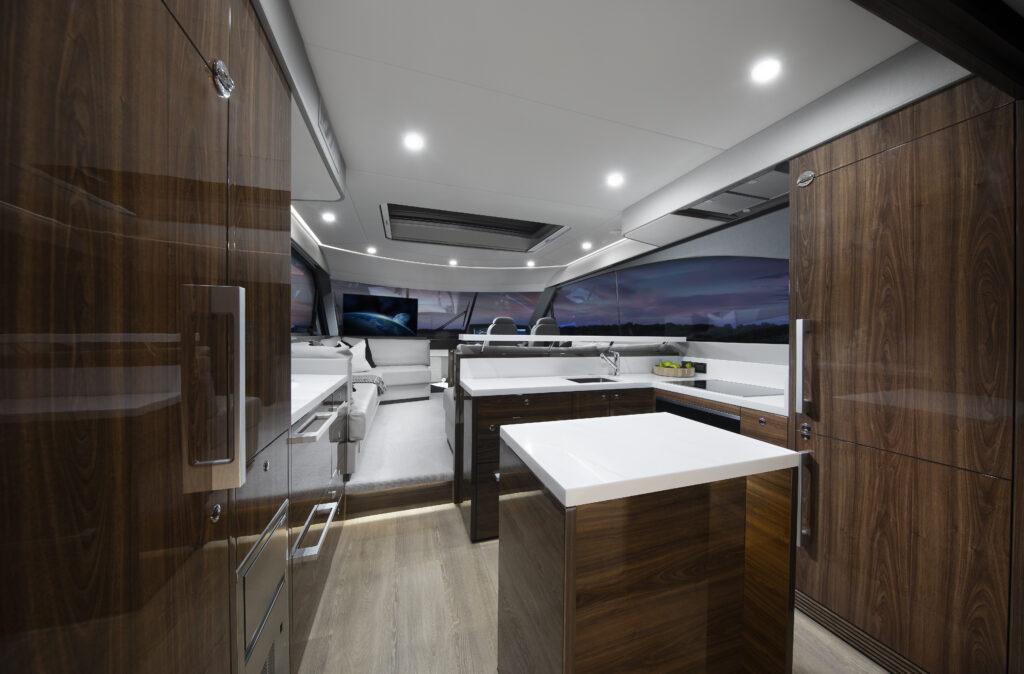 kitchen area onboard Maritimo S55