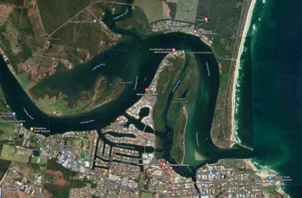 google maps screenshot of the Port Macquarie area