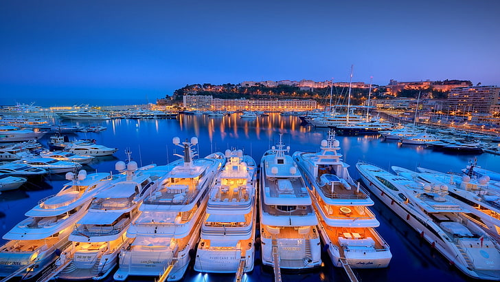 marina in Greece at night