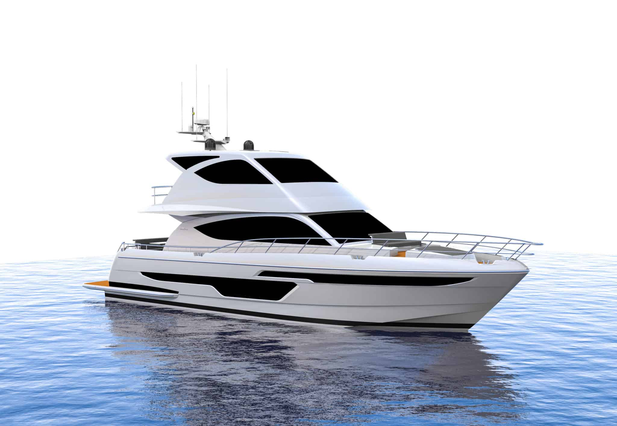 Initial render of the 6000 Flybridge from front angle