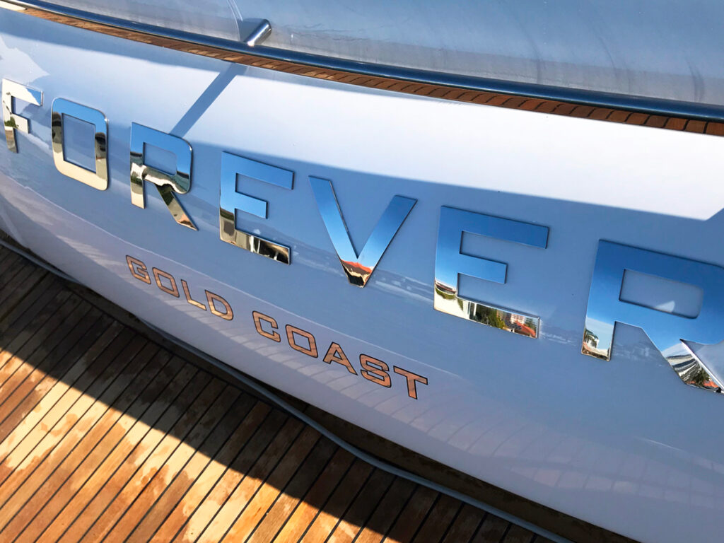 close up of lettering on hull of yacht from Southern Stainless