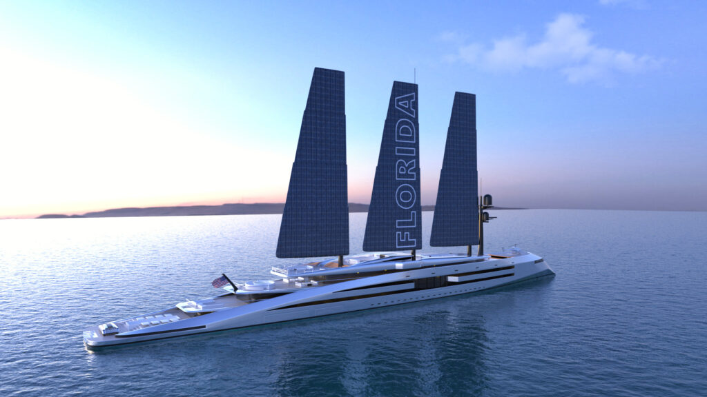 render of Florida superyacht from front angle anchired