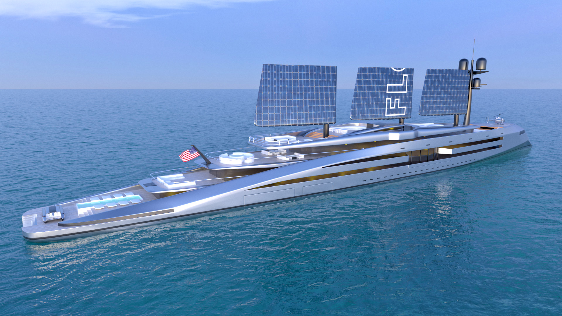 render of the Florida superyacht with wing sails collapsed