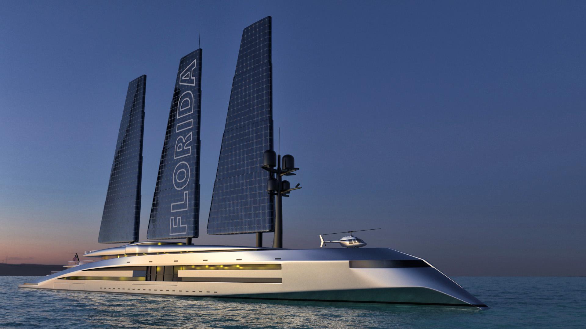 render of Florida superyacht at night