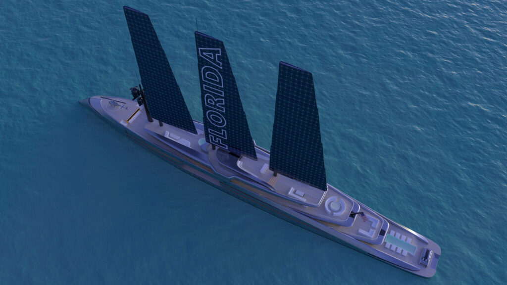 render of Florida superyacht from above
