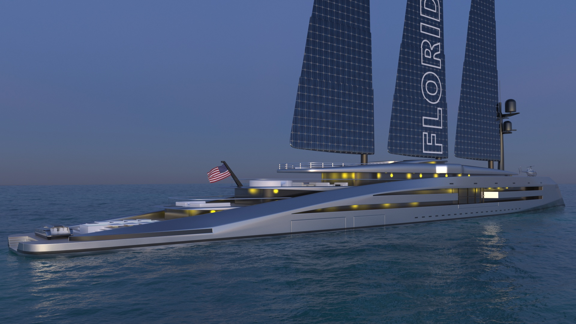 render of Florida superyacht at night reverse angle