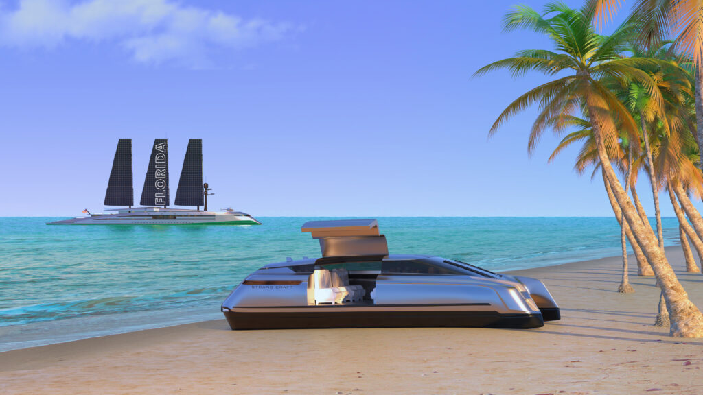 Render of Floriday superyacht accompanying travel craft