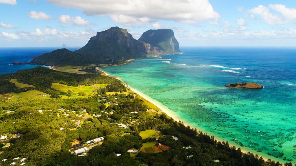 aerial shot of Lord Howe island
