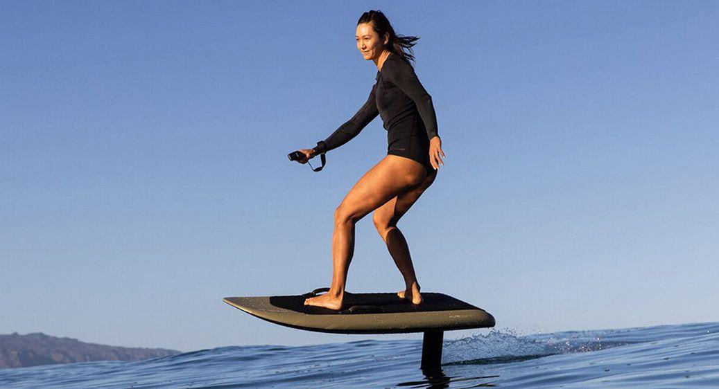 Fliteboard series 2 being ridden by woman