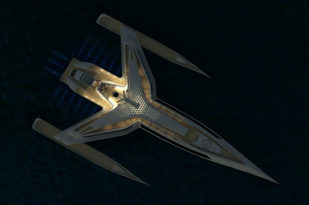 aerial of Estrella superyacht at night time