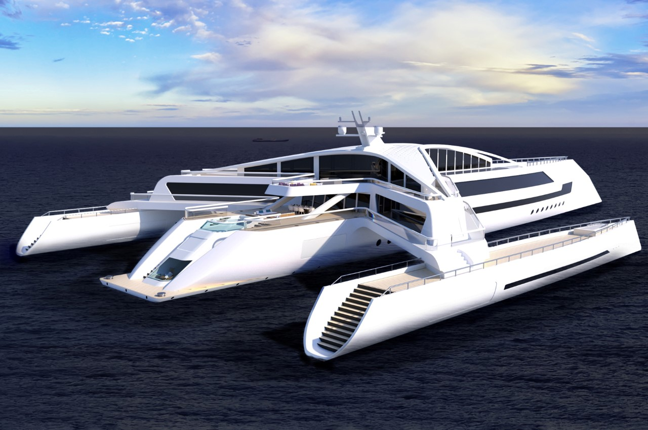 Estrella superyacht concept anchored and pictured from behind