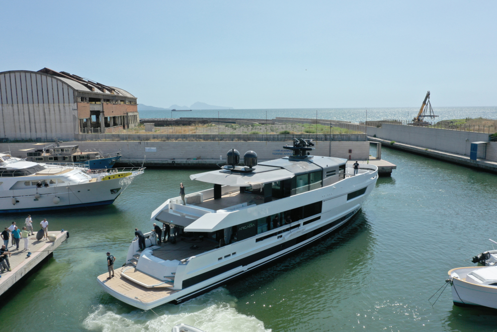 Arcadia A115 being launched from the shipyard