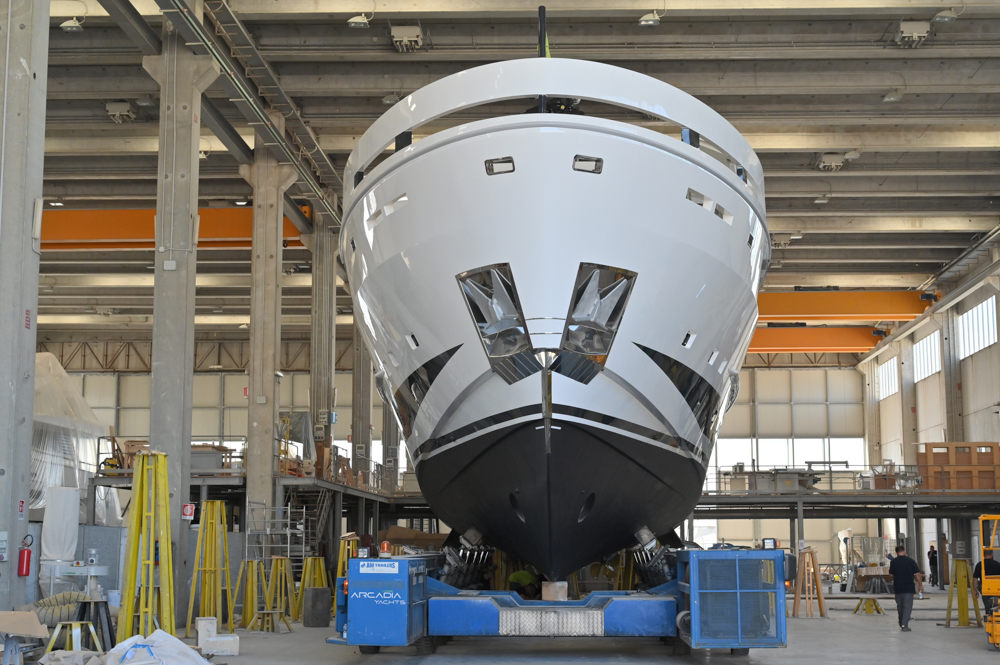 hull being taxied out of the warehouse