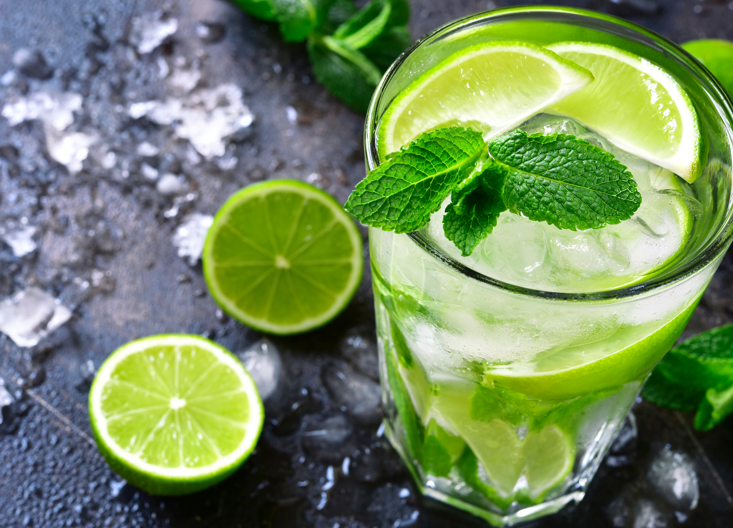 close up of alcoholic lime drink