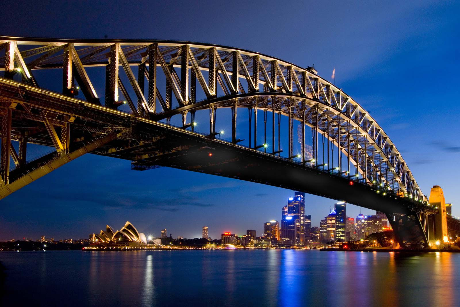 view of the harbour bridge at night