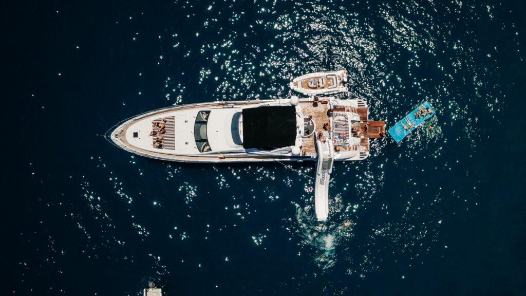 aerial shot of Boatingo charter boat
