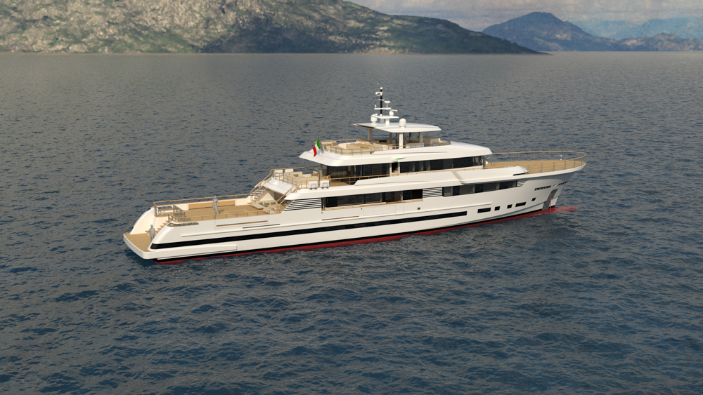 Explorer 49.5 anchored and pictured from side angle
