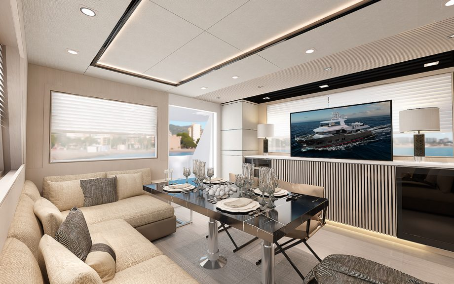 Interior living area onboard Bering B72