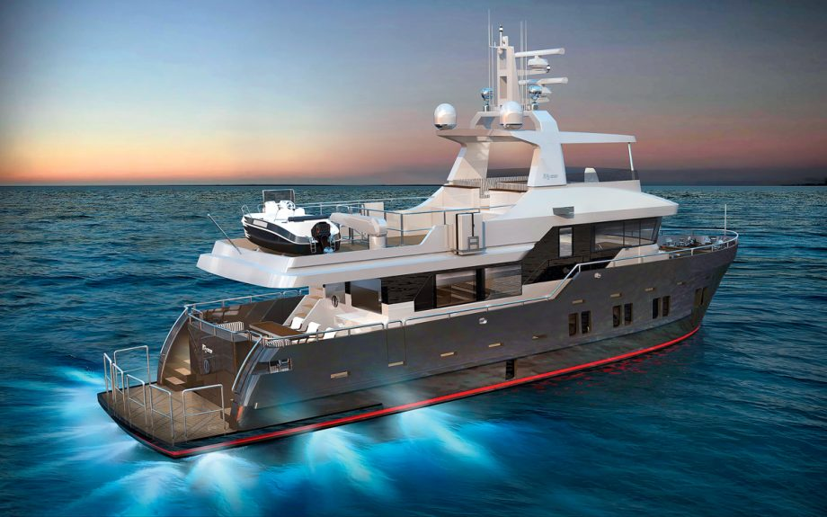 Bering B72 cruising and pictured from rear