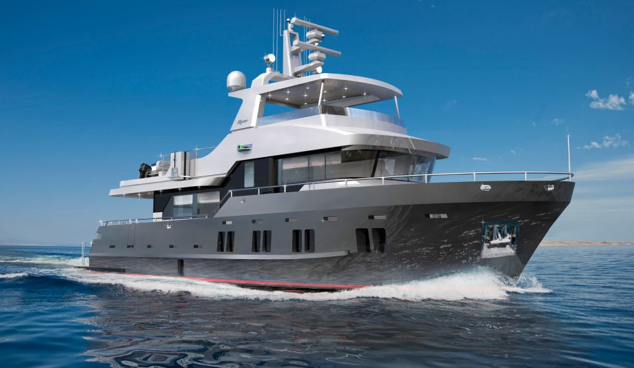 Bering B72 cruising and pictured from front