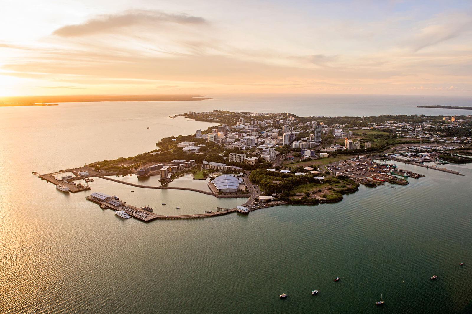aerial shot of Darwin coastline