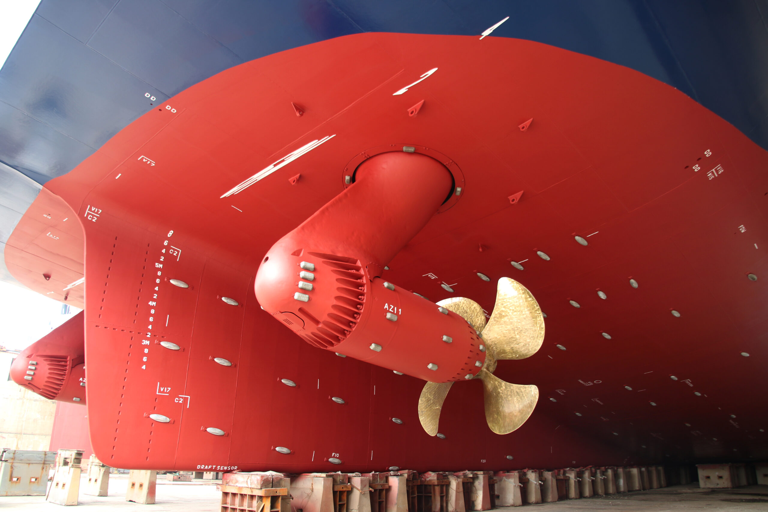 close up of the Azipod propulsion system onboard Global Mercy