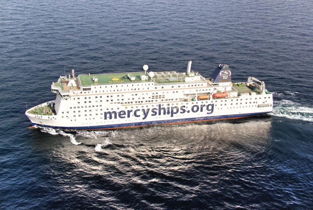 shot of the Global Mercy hospital ship
