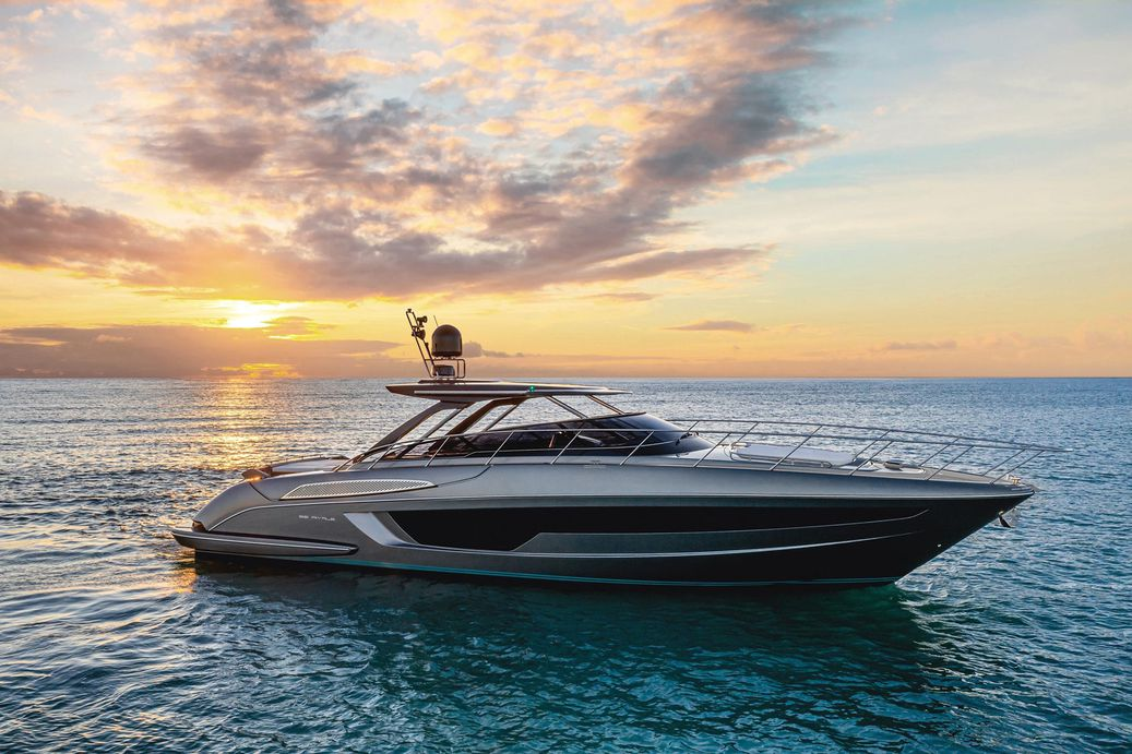 Rivale 56 from Riva Yachts pictured anchored from the side